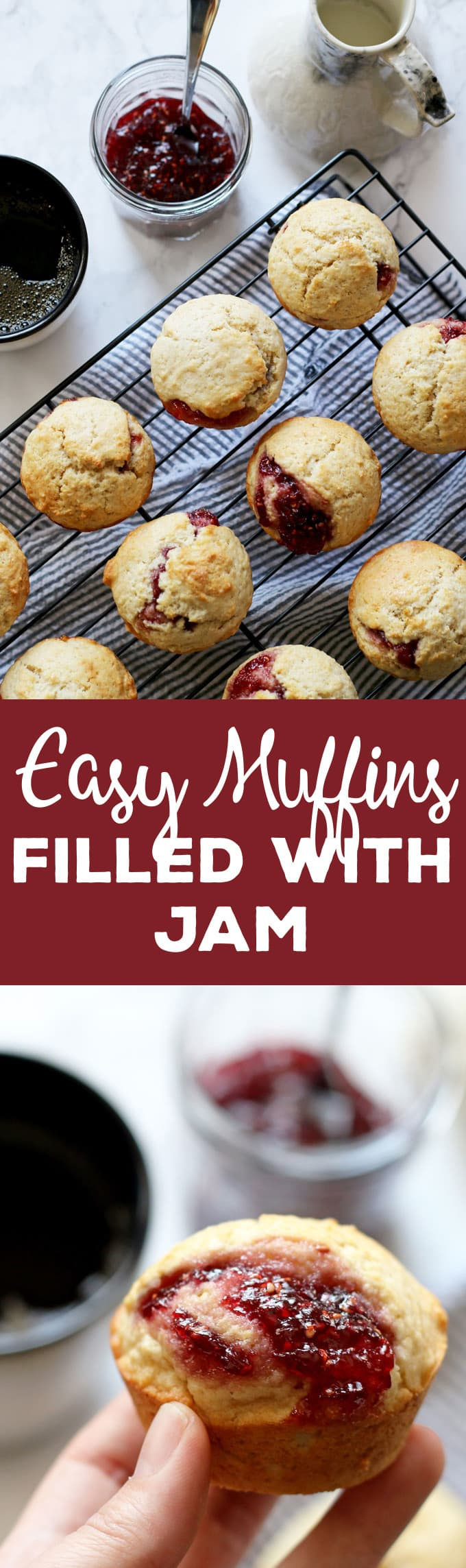 These easy muffins filled with jam are the perfect quick breakfast! I like to eat one or two in the morning with a piping hot cup of coffee. It's such an easy recipe to make that you can make a batch when you wake up. Also, they are perfect for farmer's market preserves and jams! | honeyandbirch.com