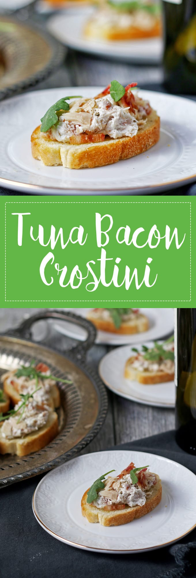 Tuna bacon crostini is a great last minute-appetizer! It only takes 10 minutes to put together and is the perfect finger food for dinner parties. | honeyandbirch.com