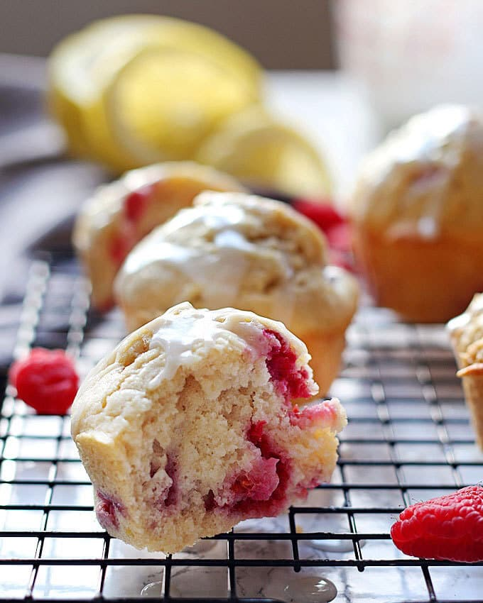Raspberry lemon muffin with bite taken out