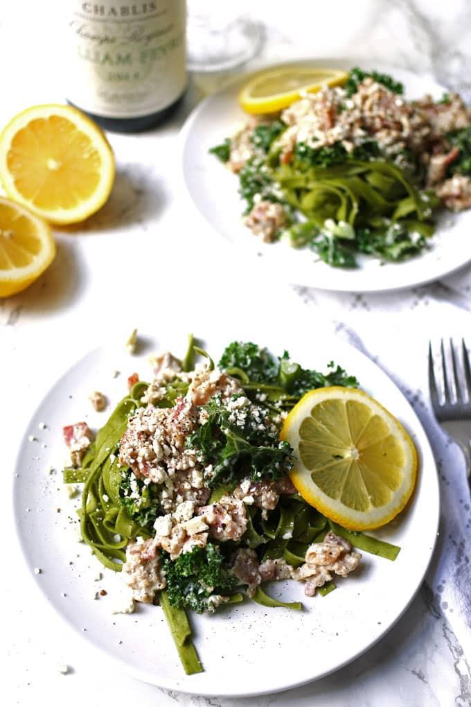 Carbonara-Inspired Greek Kale Pasta