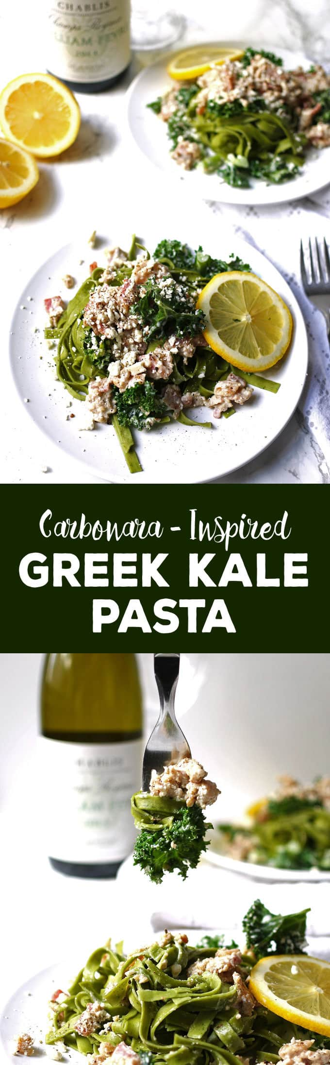 This carbonara-inspired Greek kale pasta is a one-of-a-kind pasta dinner. The flavors of carbonara sauce (bacon!) are combined with elements of Greek cuisine for a savory and delicious dish.   honeyandbirch.com