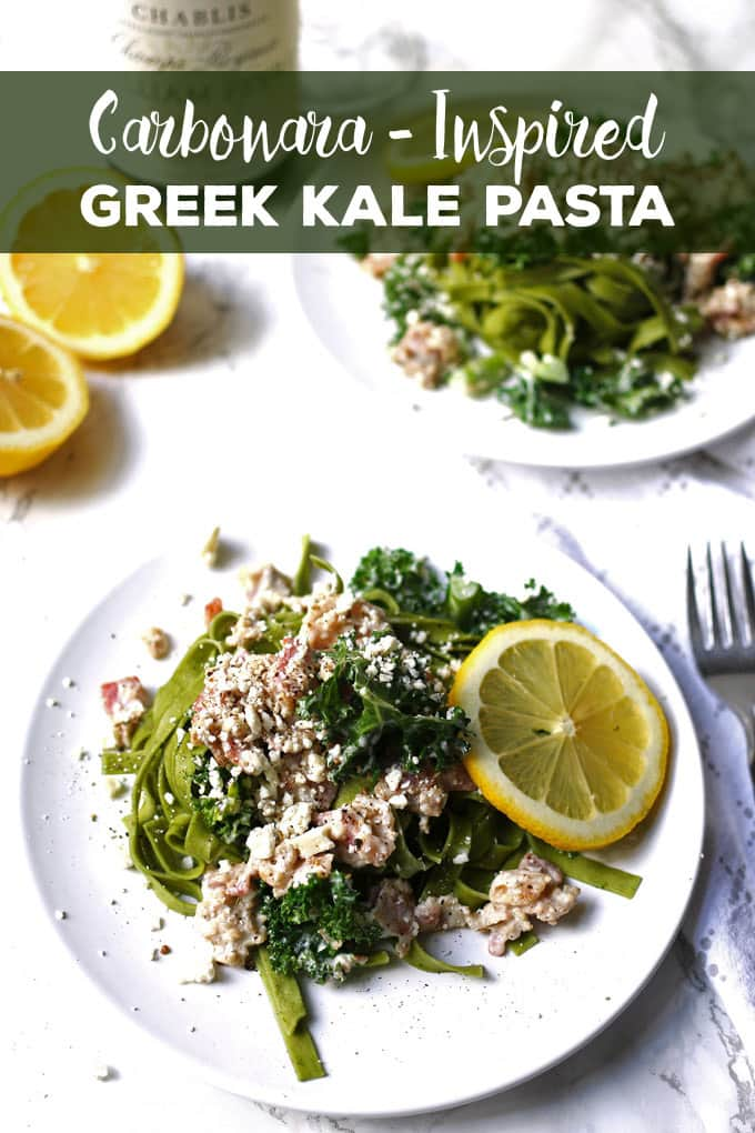 This carbonara-inspired Greek kale pasta is a one-of-a-kind pasta dinner. The flavors of carbonara sauce (bacon!) are combined with elements of Greek cuisine for a savory and delicious dish. | honeyandbirch.com