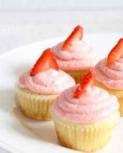 Strawberry lemonade cupcakes are the perfect spring dessert! Sweet and tangy - one of the BEST combinations out there! | honeyandbirch.com