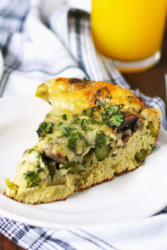 slice of asparagus mushroom Swiss egg casserole