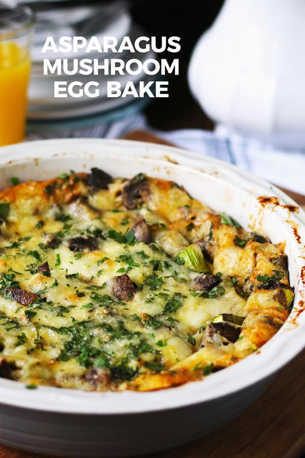 asparagus mushroom Swiss egg bake recipe pin