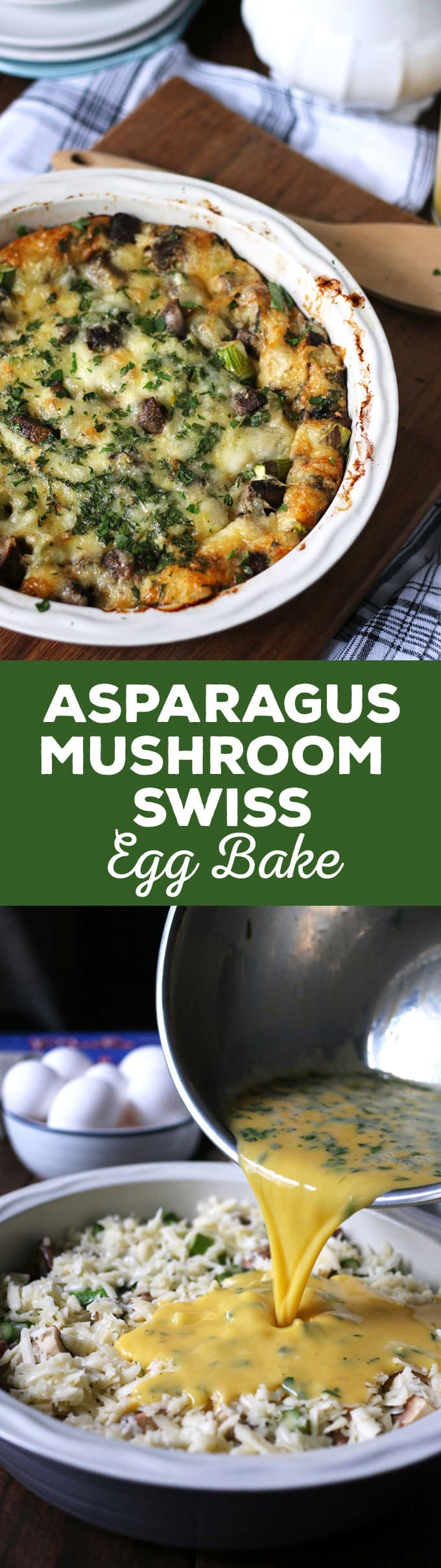 This asparagus mushroom swiss egg bake is perfect for brunch or breakfast! It can be prepared overnight and most of the cooking is done in the oven. Consider making this easy recipe your go to Mother's Day recipe! | honeyandbirch.com