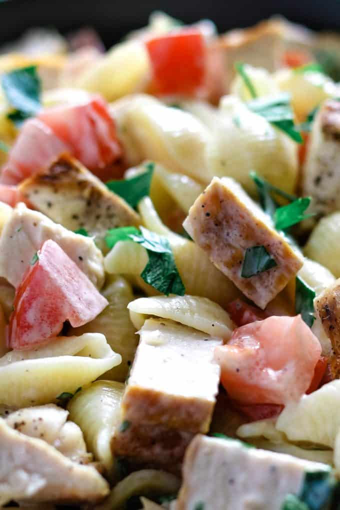 close up photo of grilled chicken ranch salad