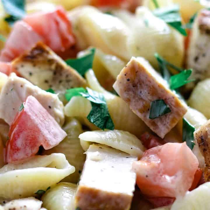 Grilled Chicken Ranch Pasta Salad