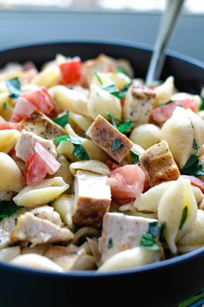 gray bowl full of ranch pasta salad
