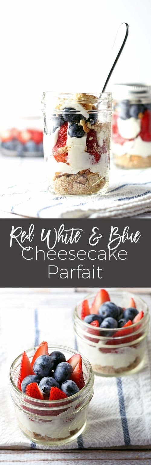 red white and blue cheesecake parfait long pin
