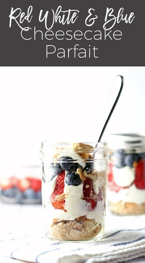 red white and blue cheesecake parfait recipe pin