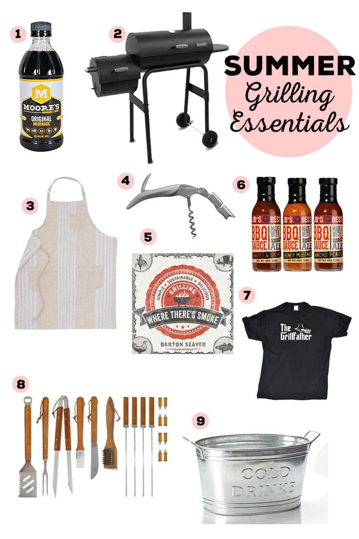 Summer Grilling Essentials - get BBQ ready with these 9 essentials grilling items! | honeyandbirch.com