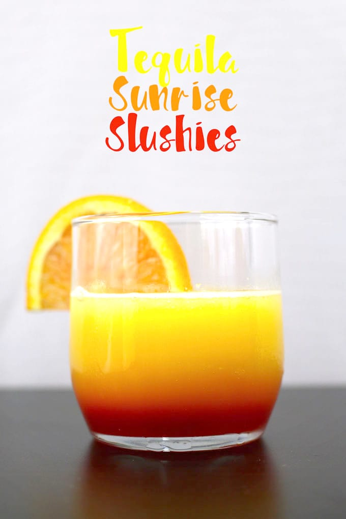 These tequila sunrise slushies are going to be your go-to summer party drink! You can easily multiply the recipe for a pitcher. Only 3 ingredients! | honeyandbirch.com