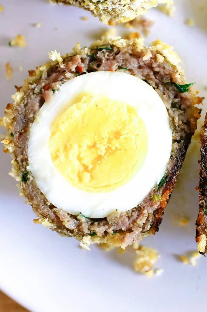 up close photo of cut open baked scotch eggs