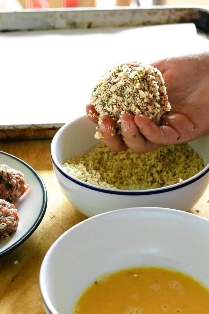 scotch egg rolled in bread crumbs