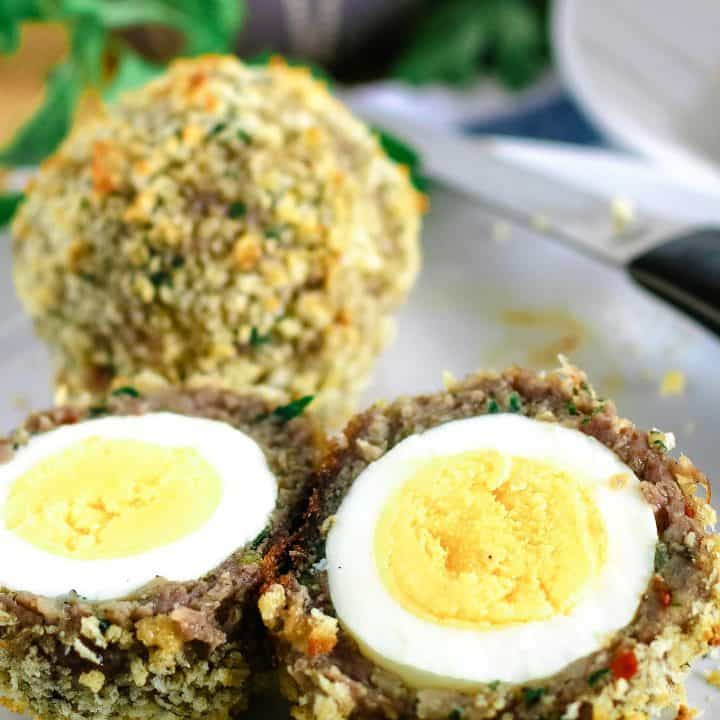 Baked Scotch Eggs with Shallot Yogurt Dipping Sauce