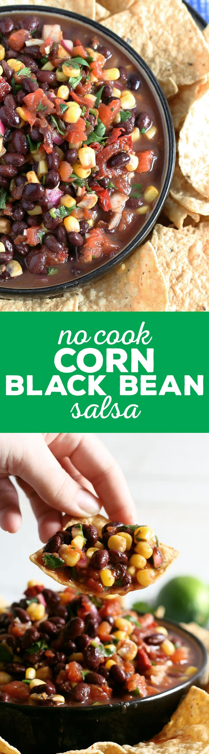 My no cook corn black bean salsa recipe takes 10 minutes to make and is perfect for parties, tailgating and holidays. Make this your new favorite quick appetizer! | honeyandbirch.com