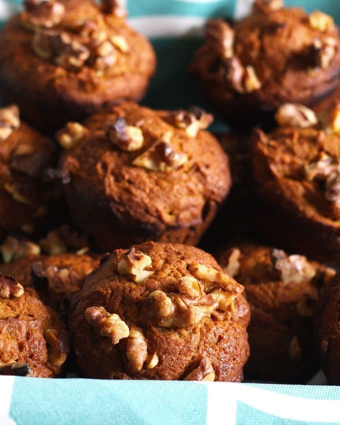 These pumpkin nut muffins are perfect when you are looking for a tasty fall breakfast! They are a great alternative to traditional banana nut muffins and are easy to make. | honeyandbirch.com