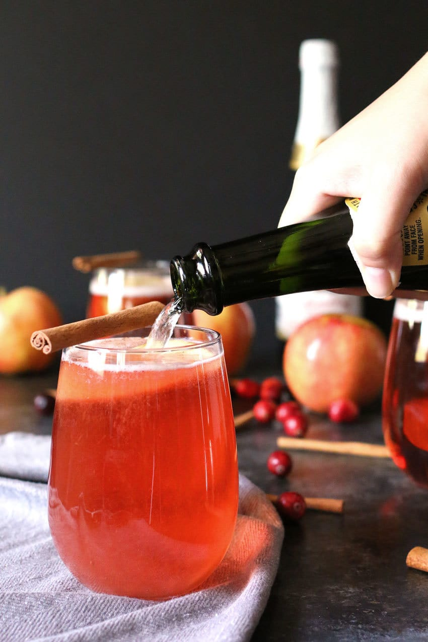 This apple cinnamon cranberry mimosa is the perfect easy holiday drink. It's main ingredient is sparkling apple cider so it can also be made into a fauxmosa! | honeyandbirch.com