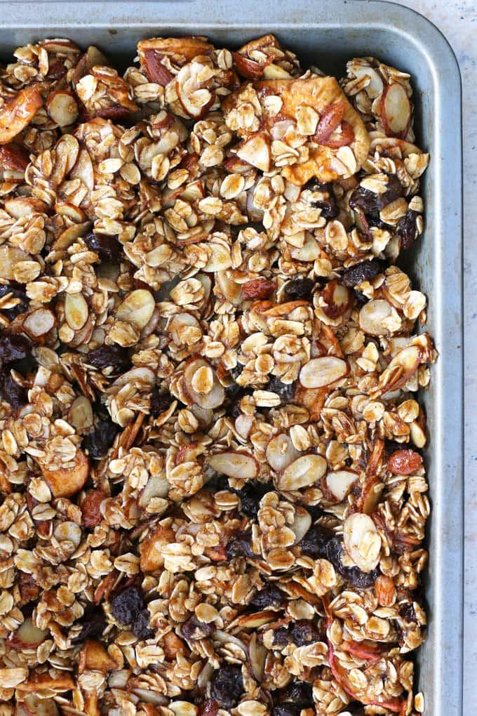 Apple cinnamon raisin granola is the perfect homemade snack or breakfast! It's super easy to make and delicious! | honeyandbirch.com
