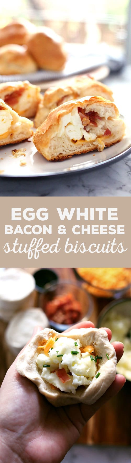 These egg white bacon cheese stuffed biscuits are delicious and so easy to make! They are the perfect grab-and-go breakfast for busy mornings. | honeyandbirch.com