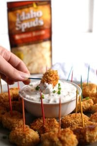 Dip these baked loaded mashed potato tater tots into my creamy loaded potato dipping sauce. They are the perfect healthier way to use leftover mashed potatoes! | honeyandbirch.com