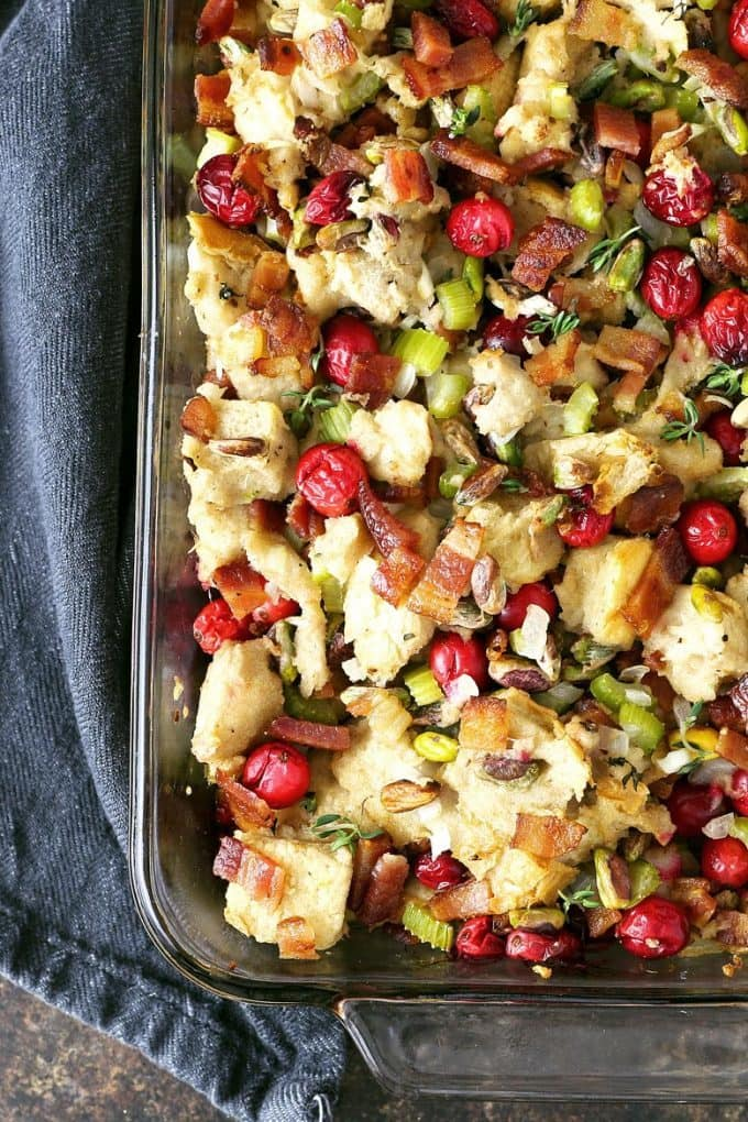 Homemade bacon cranberry pistachio dressing in a casserole dish