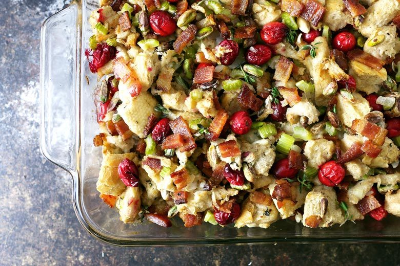 Homemade bacon cranberry pistachio dressing overhead