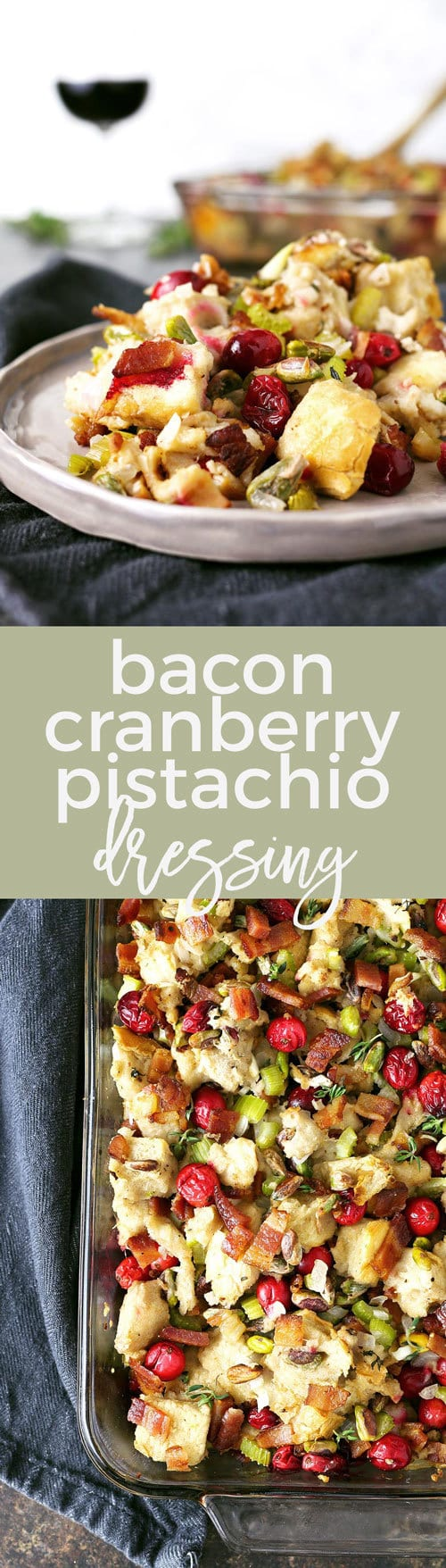Homemade bacon cranberry pistachio dressing - perfect for Thanksgiving! Whether you put it in the bird (then it's stuffing) or on the side, no holiday meal is complete without it! | honeyandbirch.com