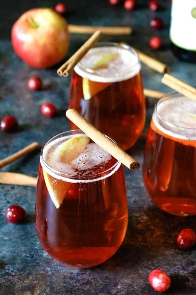 3 cranberry apple cider mimosas