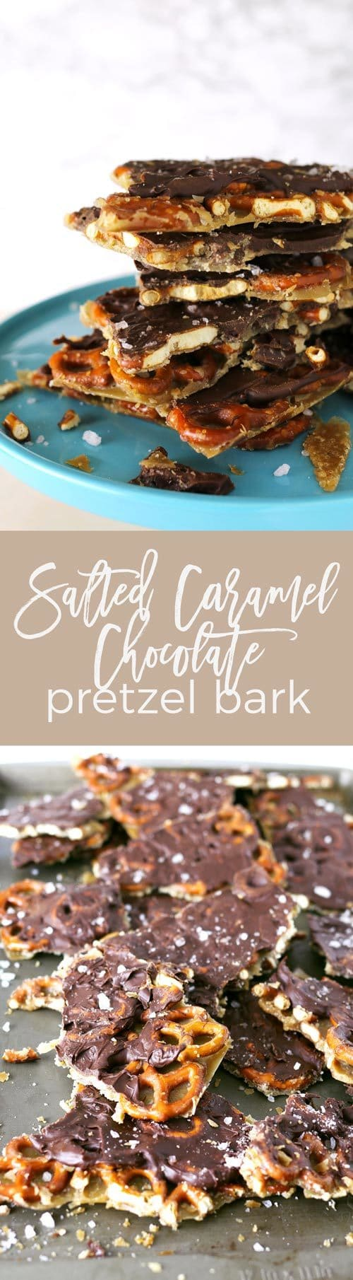 Salted caramel chocolate pretzel bark pin