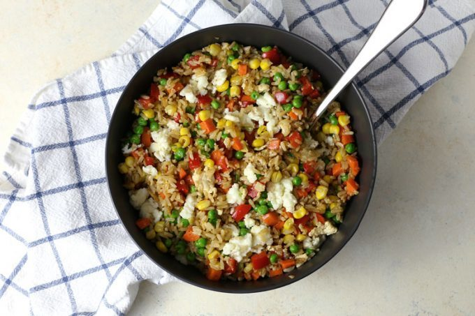veggie fried rice in a gray bowl