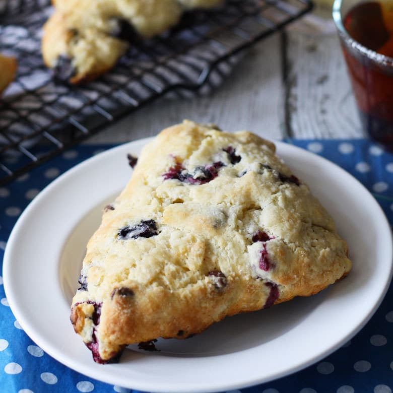 There's nothing better than morning's with a great cup of coffee and some blueberry chocolate scones. | honeyandbirch.com