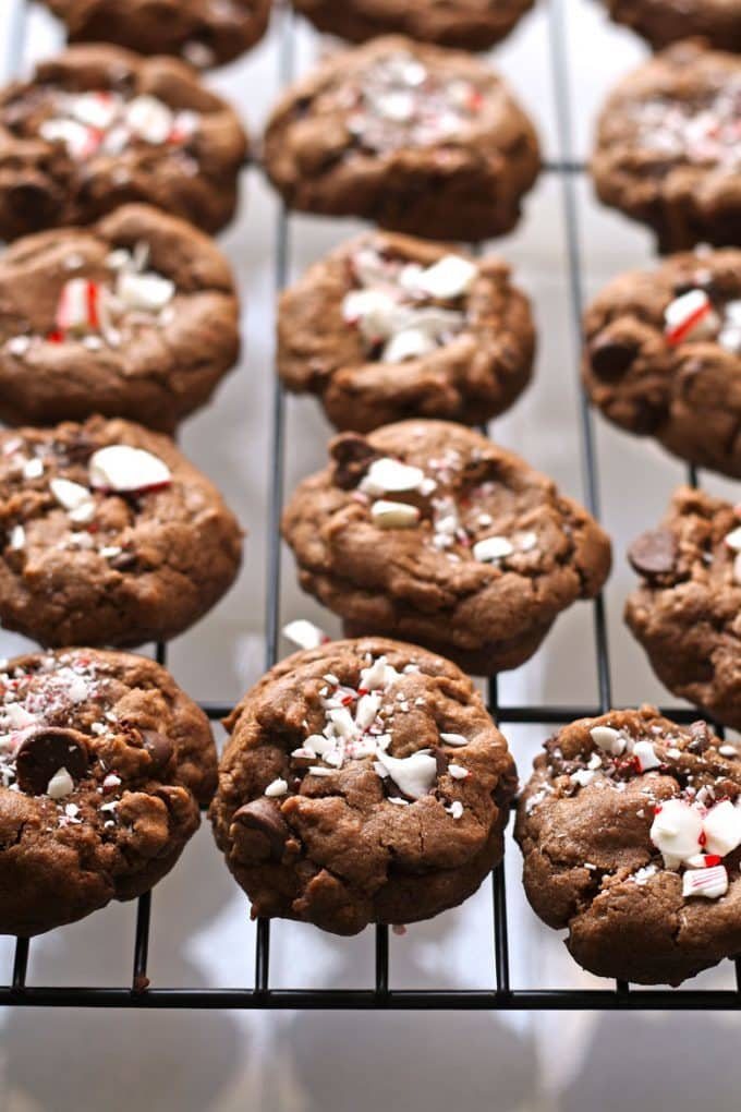 double peppermint chocolate chip cookies on a cooling rack
