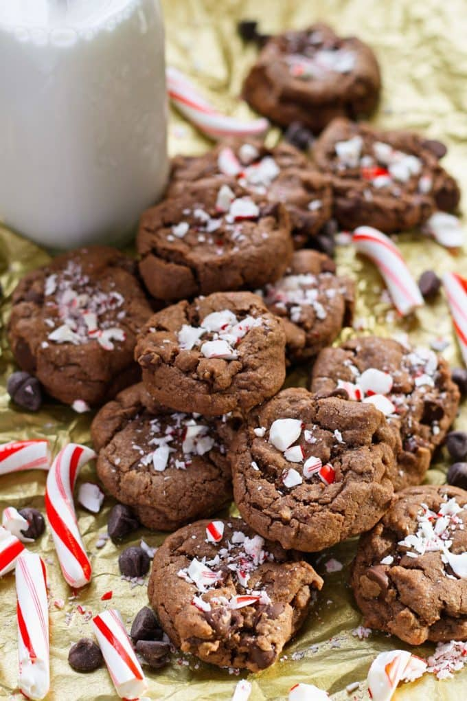 Double Peppermint Chocolate Chip Cookies The Thirsty Feast