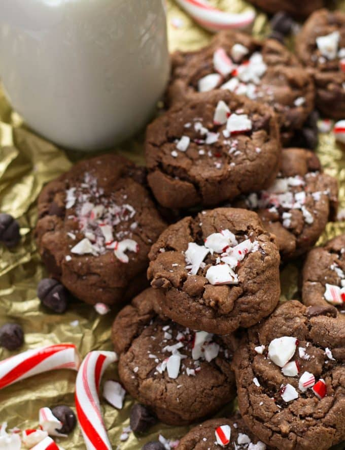 double peppermint chocolate chip cookies in a pile