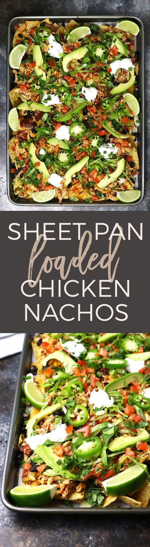 sheet pan loaded chicken nachos pinterest image