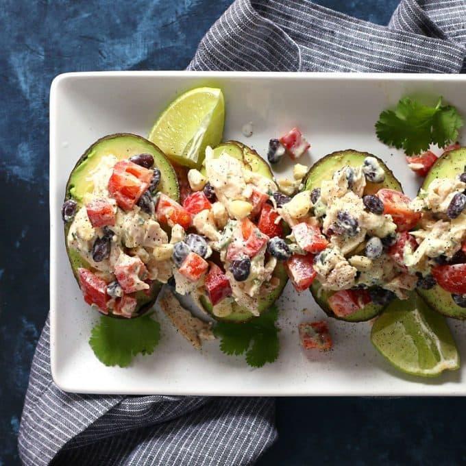 overhead photo of southwest chicken salad stuffed avocados