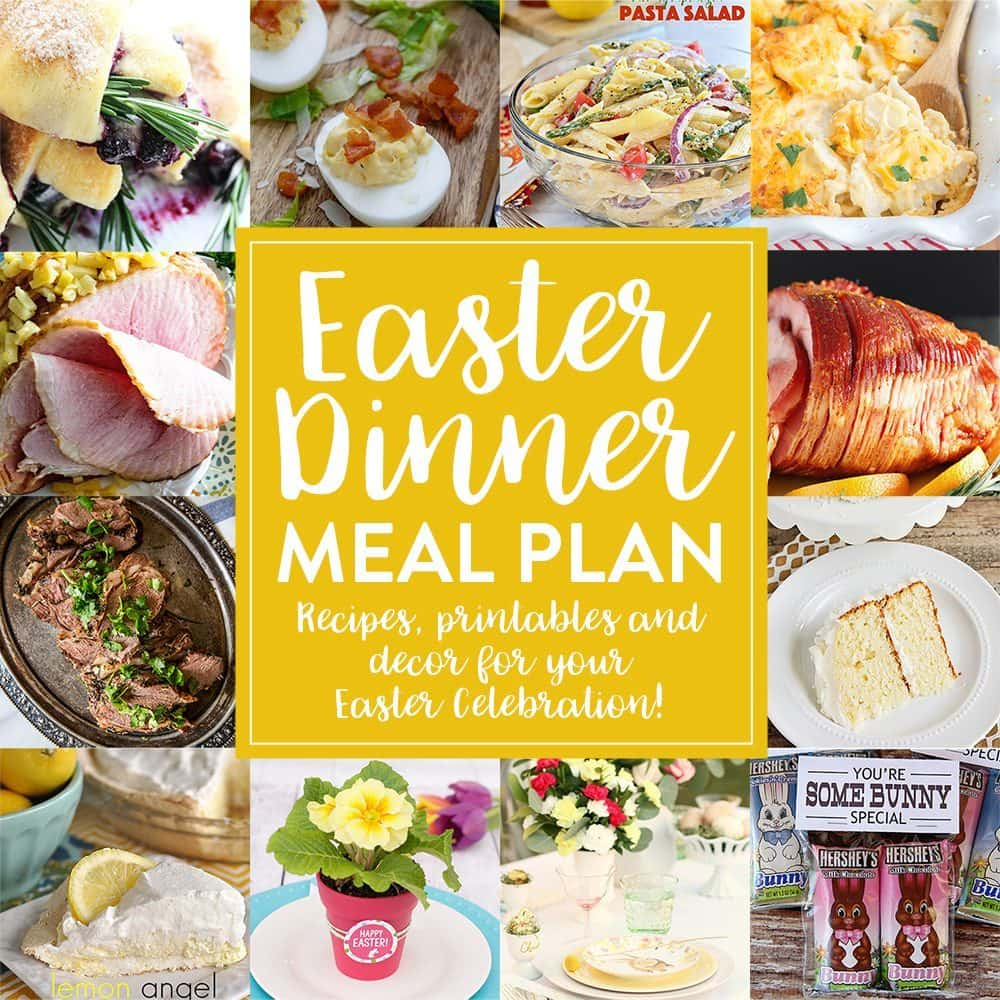 Easter dinner is almost here! Plan ahead with our Easter dinner meal plan. Choose between our delicious appetizers, sides, main dishes and desserts. Then set your table using this Easter dinner tablescape and two wonderful Easter gift ideas.