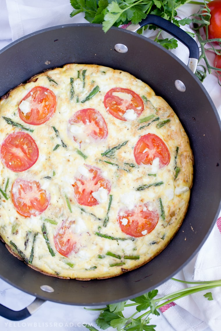 Mother's Day Brunch Meal Plan - Asparagus Tomato and Goat Cheese Frittata