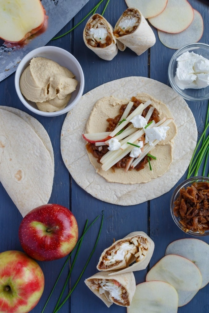 Mother's Day Brunch Plan - Caramelized Onion Apple Wraps with Hummus