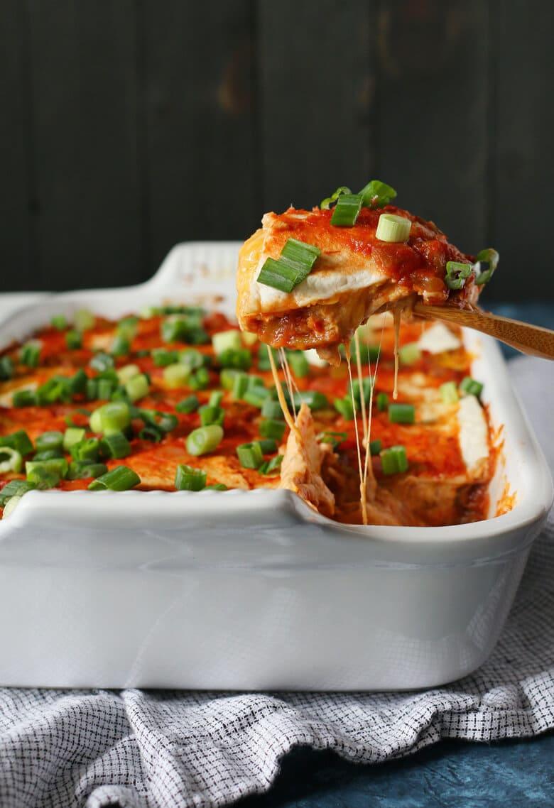 Bean burrito casserole being served