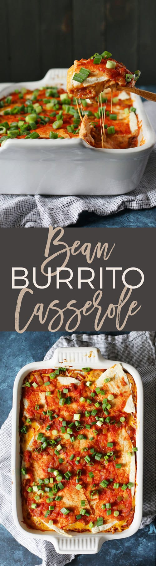 This bean burrito casserole is the perfect weeknight vegetarian freezer meal. Pull the casserole dish out of the freezer and defrost it during the day. Pop it in the oven after work and have dinner on the table in just 30 minutes!
