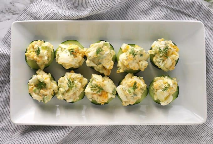 overhead picture of egg salad cucumber canapés