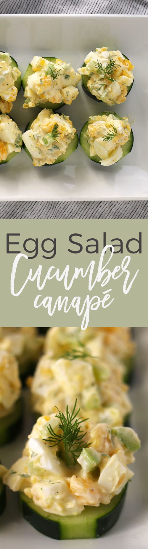 This egg salad cucumber canapé recipe is perfect appetizer for Easter and Mother's Day brunches. It is gluten-free and dairy-free and can be made in just 10 minutes.