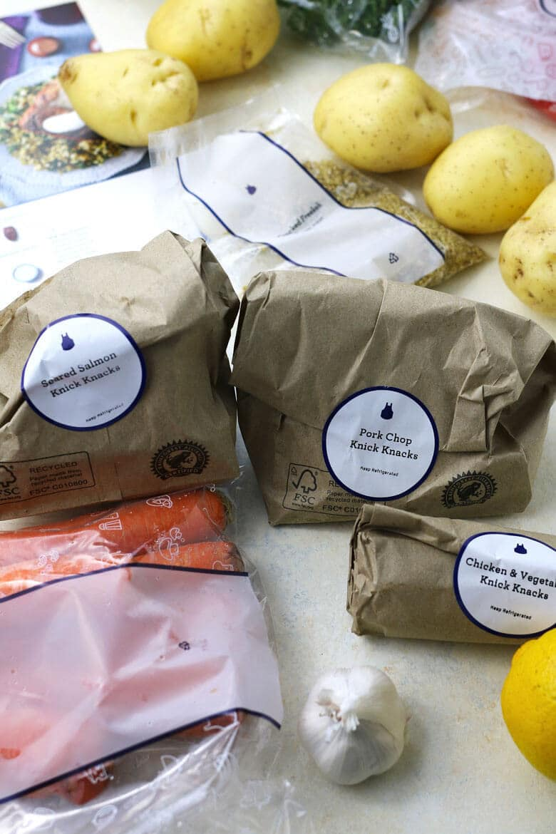 The Perfect Date Night - Stay In and Cook Together! Blue Apron bag of knick knacks