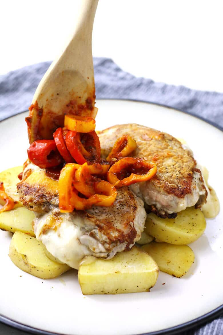 The Perfect Date Night - Stay In and Cook Together! Fontina stuffed pork chops with potatoes and pizzaiola sauce