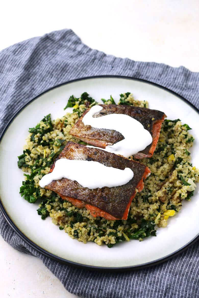 The Perfect Date Night - Stay In and Cook Together! Seared and salmon and lemon labneh with freekeh, kale and dates