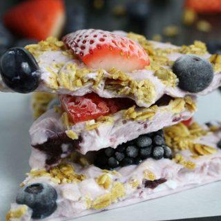 Triple Berry Granola Frozen Yogurt Breakfast Bark
