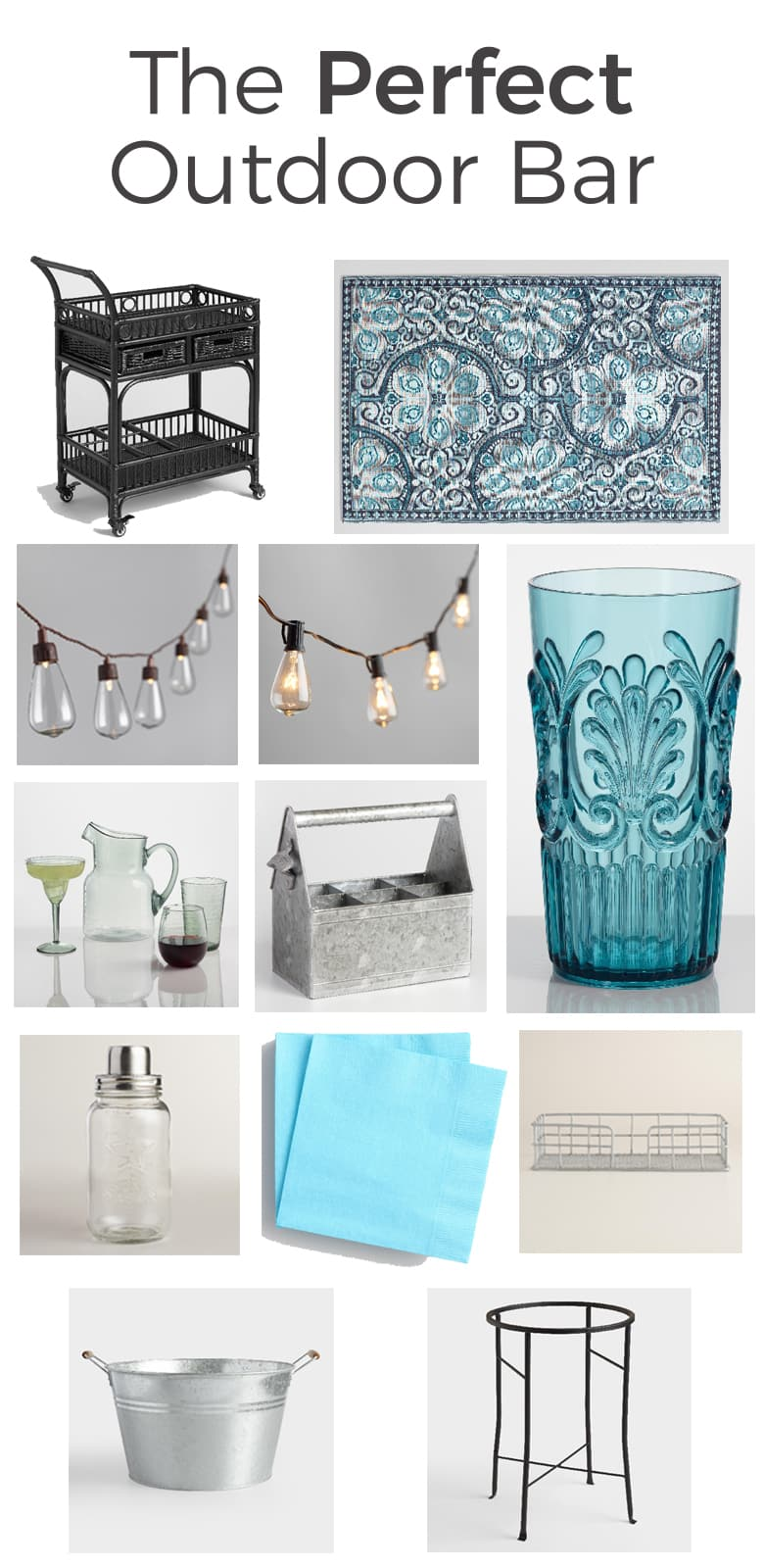 The perfect outdoor bar is a mix of classic pieces and color. Keep it unisex by sticking with a fun, yet neutral palette and galvanized steel.